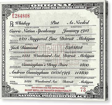 Canvas Print featuring the photograph Prohibition Prescription Certificate Carrie Nation Speakeasy by David Patterson