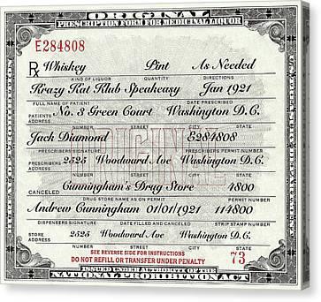 Canvas Print featuring the photograph Prohibition Prescription Certificate Krazy Kat Klub by David Patterson