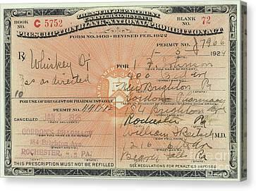 Prohibition Prescription For Whiskey Canvas Print