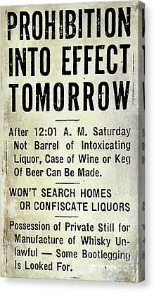 Celebrate Canvas Print - Prohibition Sign by Jon Neidert
