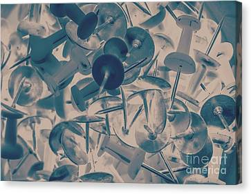 Projected Abstract Blue Thumbtacks Background Canvas Print