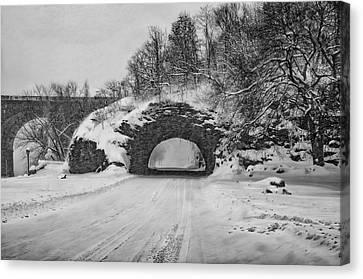 Kelly Drive Canvas Print - Promatory Rock Tunnel In Winter - Philadelphia  by Bill Cannon
