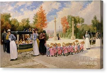 Dgt Canvas Print - Promenade Des Enfants  by Timoleon Marie Lobrichon