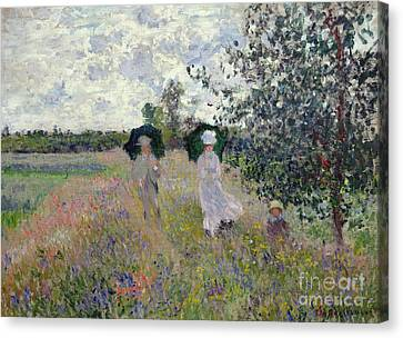 Promenade Near Argenteuil Canvas Print by Claude Monet