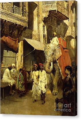 Colonial Man Canvas Print - Promenade On An Indian Street by Edwin Lord Weeks
