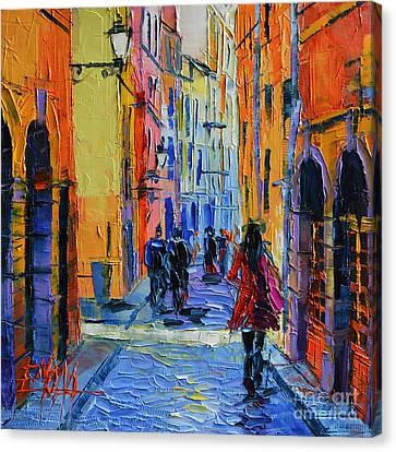 Promenade On Saint Georges Street Lyon Canvas Print