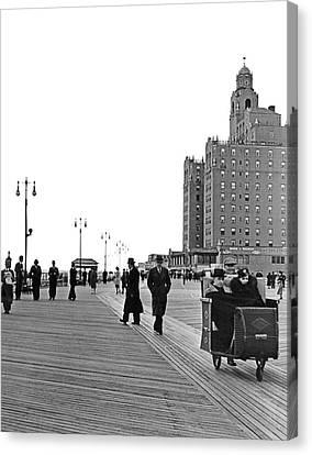 Promenading On The Boardwalk Canvas Print by Underwood Archives