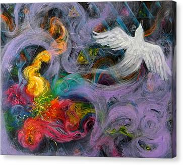 Prophetic Message Sketch Painting 10 Divine Pattern Dove Canvas Print by Anne Cameron Cutri