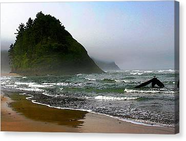 Proposal Rock At Neskowin Beach Canvas Print