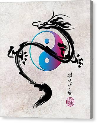 Prosperity Yin Yang Dragon Canvas Print by Daniel Hagerman