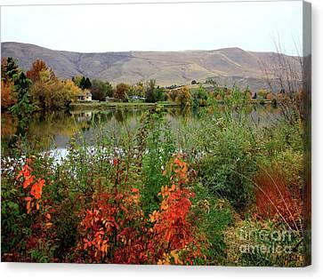 Prosser Autumn River With Hills Canvas Print by Carol Groenen