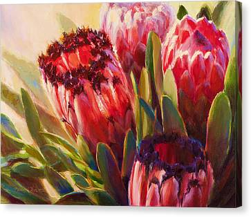 Canvas Print featuring the painting Protea - Tropical Flowers From Hawaii by Karen Whitworth