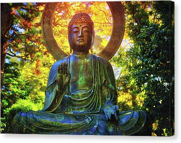 Protection Buddha #2 In Japanese Tea Garden At Golden Gate Park - San Francisco Canvas Print by Jennifer Rondinelli Reilly - Fine Art Photography