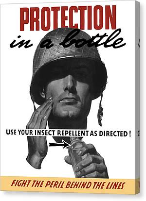 Protection In A Bottle Fight The Peril Behind The Lines Canvas Print by War Is Hell Store
