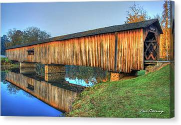 Protection That Works 2 Watson Mill Covered Bridge Reflections Canvas Print