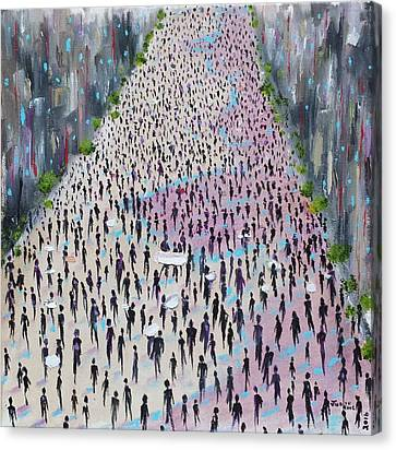 Canvas Print featuring the painting Protesters by Judith Rhue