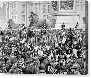 Protests In Trafalgar Square By The London Poor Canvas Print by Pat Nicolle