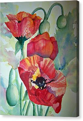 Canvas Print featuring the painting Proud Poppies by Sandy Collier