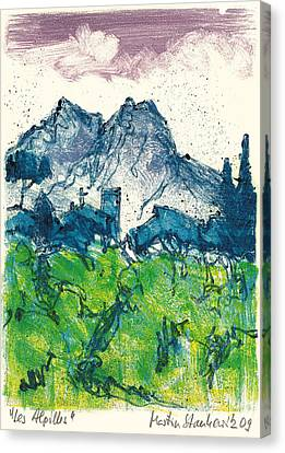 Canvas Print featuring the painting Provence Landscape Alpilles by Martin Stankewitz