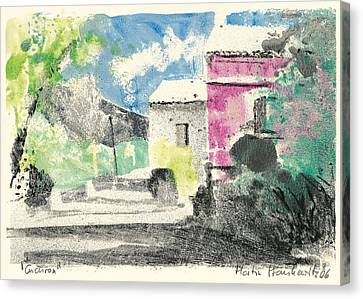 Canvas Print featuring the painting Provence Landscape Village Cucuron by Martin Stankewitz