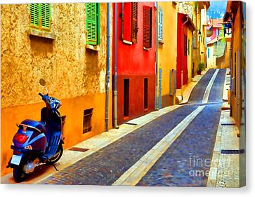 Provence Street With Scooter Canvas Print by Olivier Le Queinec