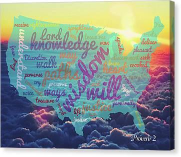 Usa Map 01  Proverb 2 Canvas Print