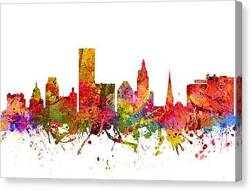 Providence Cityscape 08 Canvas Print by Aged Pixel