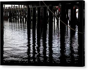 Canvas Print featuring the photograph Provincetown Wharf Reflections by Charles Harden