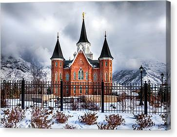 Provo City Center Temple Canvas Print by David Millenheft