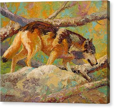 Prowler - Grey Wolf Canvas Print by Marion Rose