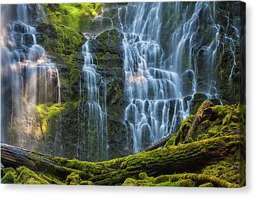 Proxy Falls Dappled In Light Canvas Print by Mark Kiver