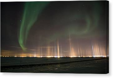 Prudhoe Bay Aurora And Ice Fog Pillars Canvas Print by Sam Amato