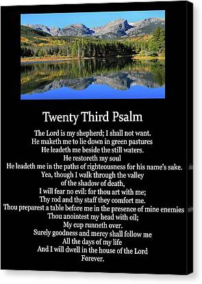 Psalm 23 Mountain Reflection Canvas Print by Dan Sproul
