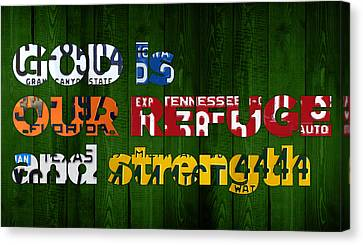 Psalm 46 1 God Is Our Refuge And Strength Bible Verse Recycled Vintage License Plate Art Canvas Print