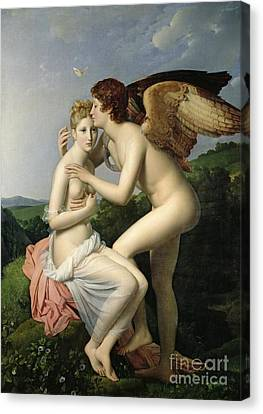 Male Angel Canvas Print featuring the painting Psyche Receiving The First Kiss Of Cupid by Gerard