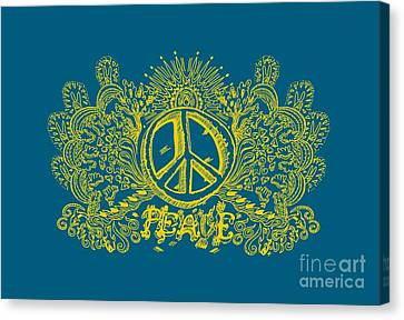 Psychedelic Art Peace Will Come Peace Sign And Love Canvas Print by Paul Telling