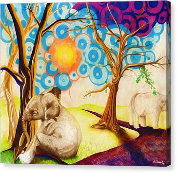 Canvas Print featuring the drawing Psychedelic Elephants by Shawna Rowe