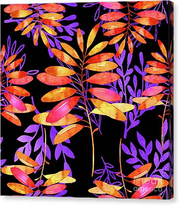 Psychedelic Fall, Vibrant Fall Leaves Nature Pattern Canvas Print by Tina Lavoie