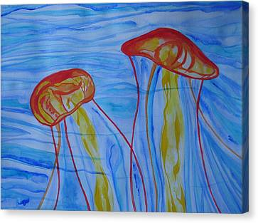 Canvas Print featuring the painting Psychedelic Lion's Mane Jellyfish by Erika Swartzkopf