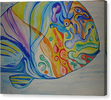 Canvas Print featuring the painting Psychedelic Parrotfish by Erika Swartzkopf