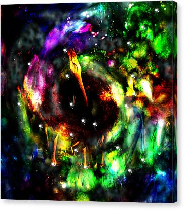 Psychedelic Rainbow Elephant Constellations Canvas Print by Abram Lopez