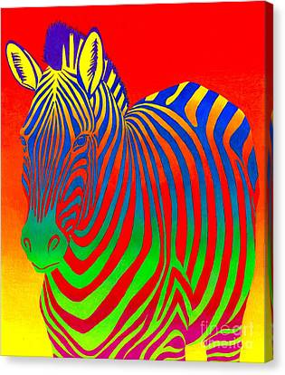 Colorful Abstract Canvas Print - Psychedelic Rainbow Zebra by Rebecca Wang