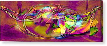 Canvas Print featuring the digital art Psychedelic Sun by Linda Sannuti