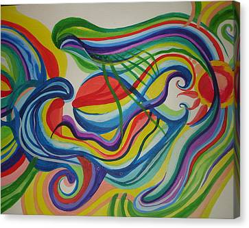 Canvas Print featuring the painting Psychedelic Swim by Erika Swartzkopf