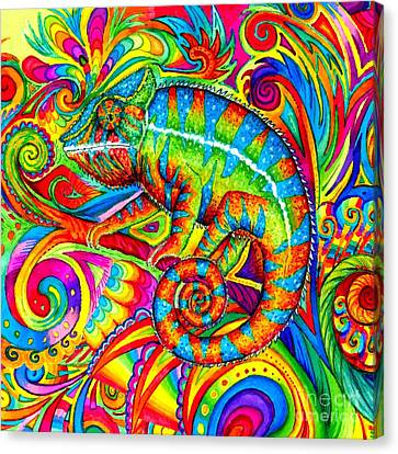Colorful Abstract Canvas Print - Psychedelizard by Rebecca Wang