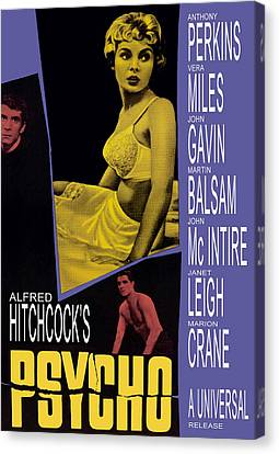 Horror Fantasy Movies Canvas Print - Psycho, Anthony Perkins, Janet Leigh by Everett