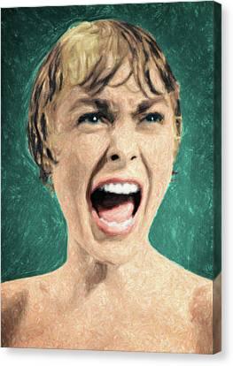 Horror Movies Canvas Print - Psycho Shower Scene by Taylan Apukovska