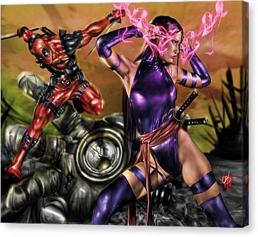 Tapang Canvas Print - Psylocke And Deadpool by Pete Tapang