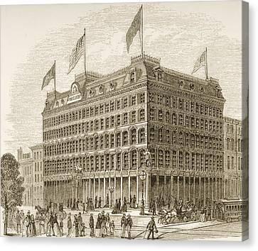 Philadelphia History Canvas Print - Public Ledger Building Philadelphia by Vintage Design Pics