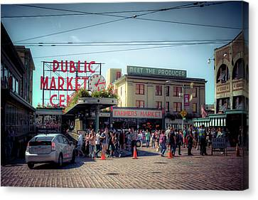 Canvas Print featuring the photograph Public Market Crowd by Spencer McDonald